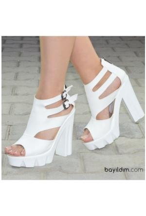 Peri Kızı Kuğu Beyaz Topuklu Sandalet