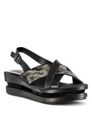 Marjin Lenal Dolgu Sandalet Siyah