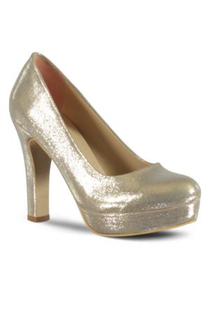 Marjin Duste Topuklu Abiye Ayakkabı Altın