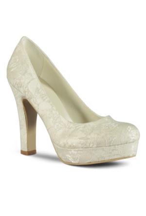 Marjin Duste Topuklu Abiye Ayakkabı Beyaz Dantel