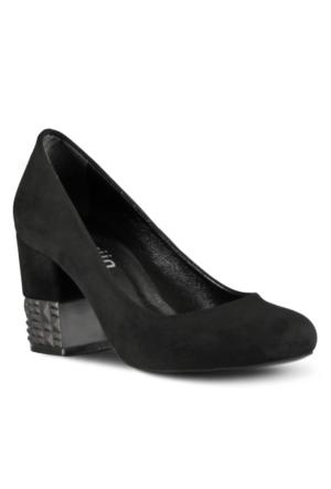 Marjin Laser Topuklu Ayakkabı Siyah Süet