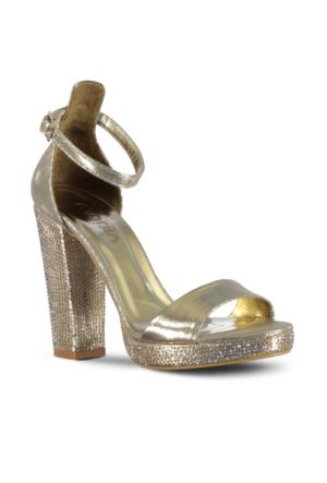 Marjin Surya Platform Topuk Abiye Ayakkabı Altın