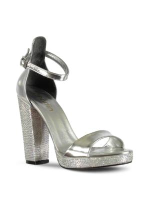 Marjin Surya Platform Topuk Abiye Ayakkabı Gümüş