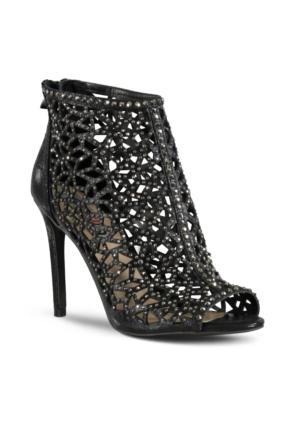 Marjin Palme Topuklu Abiye Ayakkabı Siyah