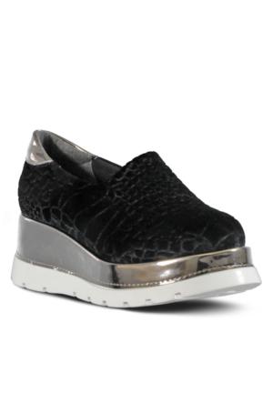 Marjin Josha Dolgu Topuk Ayakkabı Siyah Croco