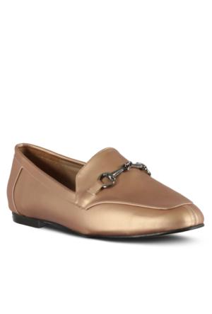 Marjin Jayne Düz Ayakkabı Pudra Altın