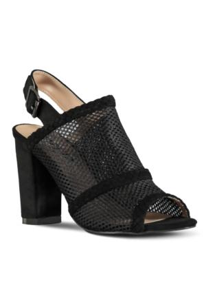Marjin Bedin Topuklu Ayakkabı Siyah Süet