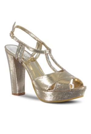 Marjin Manes Platform Topuk Abiye Ayakkabı Altın