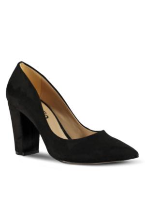 Marjin Aksel Topuklu Ayakkabı Siyah Süet