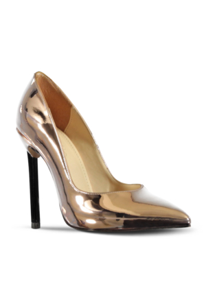 Marjin Juste Topuklu Ayakkabı Pudra Altın
