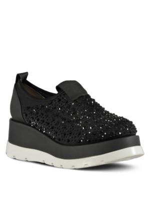 Marjin Savle Dolgu Topuk Spor Ayakkabı Siyah