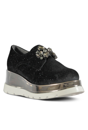 Marjin Lanves Dolgu Topuk Spor Ayakkabı Siyah