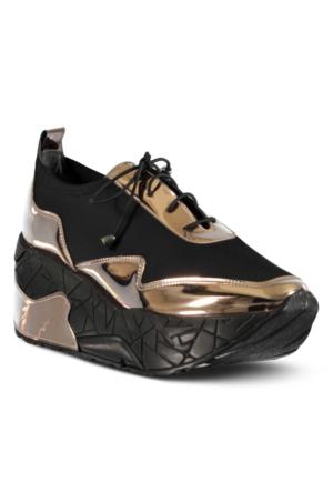Marjin Jenas Dolgu Spor Ayakkabı Altın