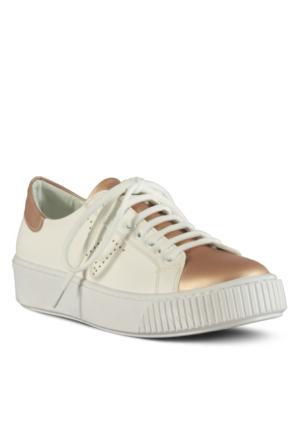 Marjin Alavi Düz Spor Ayakkabı Pudra Altın