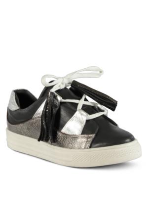 Marjin Farhe Düz Deri Spor Ayakkabı Siyah