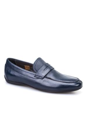 Cabani Kemerli Günlük Erkek Ayakkabı Lacivert Kırma Deri