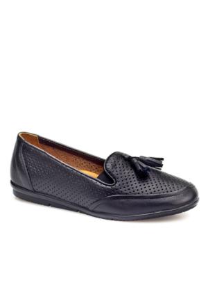 Cabani Püsküllü Günlük Kadın Ayakkabı Siyah Deri
