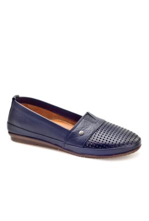 Cabani Lazerli Günlük Kadın Ayakkabı Lacivert Deri