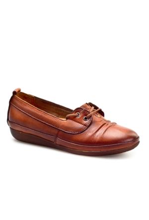 Cabani Bağcıklı Günlük Kadın Ayakkabı Taba Deri