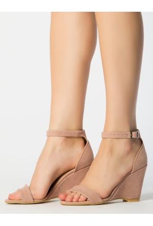 Mecrea Athens Pudra Süet Dolgu Topuk Sandalet