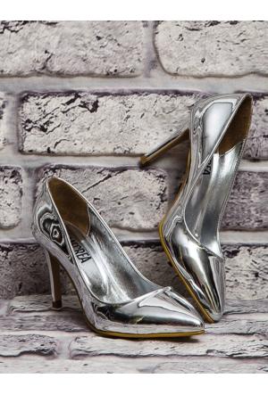 Mecrea Leila Gümüş Ayna Dekolte Stiletto
