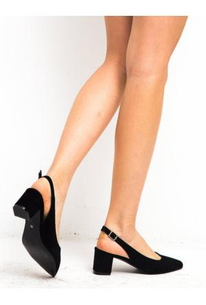 Mecrea Loraine Siyah Süet Düşük Topuklu Stiletto