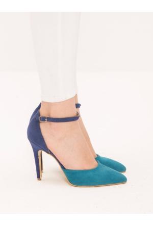 Mecrea Tizzy Mavi Turkuaz Bilekten Bağlamalı Topuklu Ayakkabı