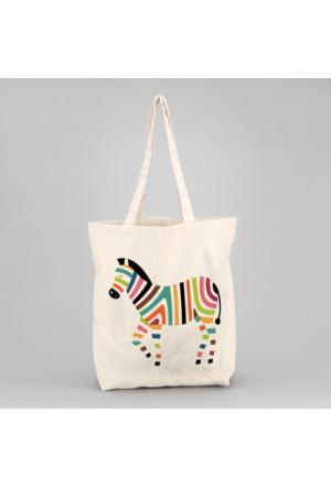 İf Dizayn Renkli Zebra Tasarım Bez Çanta