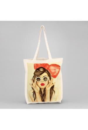 İf Dizayn Retrgo Girl Tasarım Bez Çanta