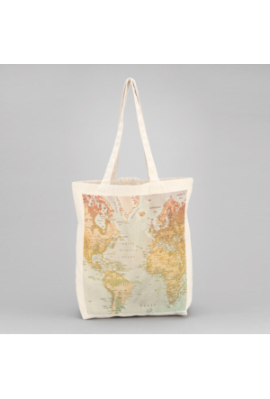 İf Dizayn Dünya Haritası Baskılı Bez Çanta