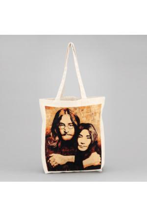 İf Dizayn John Lennon Ve Yoko Ono Bez Çanta