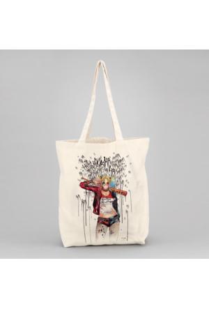 İf Dizayn Harley Quinn Tasarım Bez Çanta