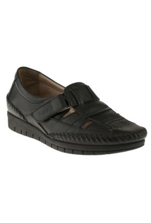 Forelli 23407-1 Tek Cırt Comfort Siyah Kadın Ayakkabı