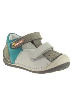 Perlina Çift Cırt Deri Ortopedik Gri Çocuk Ayakkabı