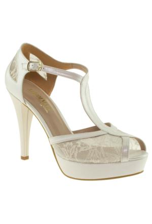 Alisolmaz 0350 Dantel Beyaz Kadın Abiye Ayakkabı