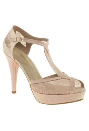 Alisolmaz 0350 Dantel Pembe Kadın Abiye Ayakkabı