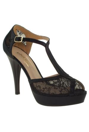 Alisolmaz 0350 Dantel Siyah Kadın Abiye Ayakkabı