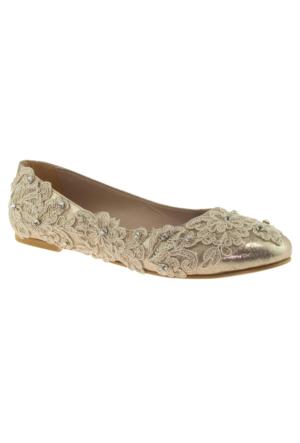 Alisolmaz 2835 Dantel Altın Kadın Abiye Ayakkabı