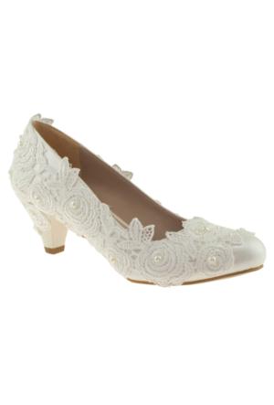 Alisolmaz 2850 Dantel Sedef Kadın Abiye Ayakkabı