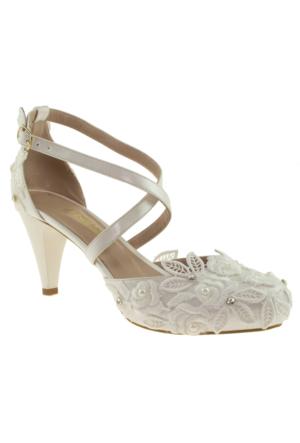 Alisolmaz 2852 Dantel Sedef Kadın Abiye Ayakkabı