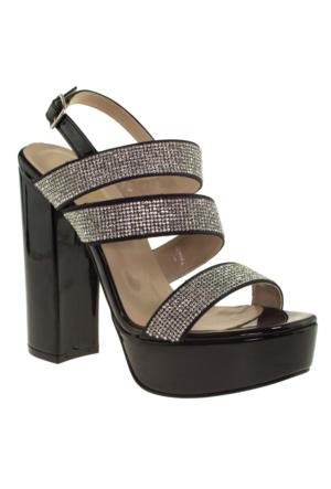 Alisolmaz 3097 Taşli Platform Abiye Ayakkabı Siyah Kadın Abiye Ayakkabı