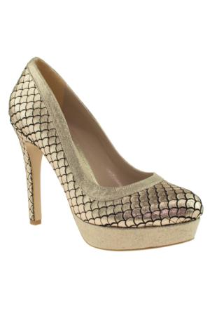 Alisolmaz 3113 Platform Altın Kadın Abiye Ayakkabı