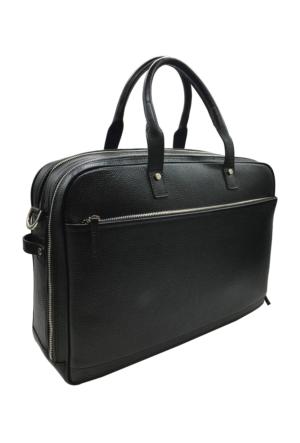 Bond 1209-281 Siyah Gerçek Deri Erkek Evrak-Laptop Çantası