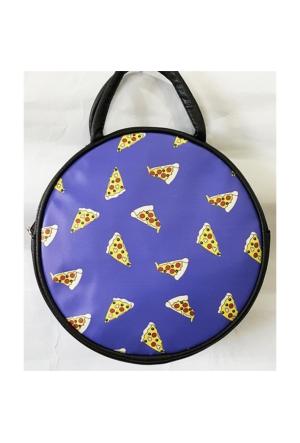 Köstebek Pizza Kolaj Yuvarlak Postacı Çanta