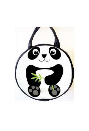 Köstebek Panda Ve Bambu Yuvarlak Postacı Çanta