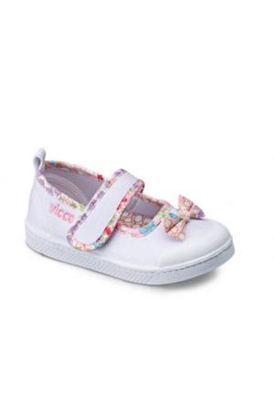 Vicco Cırtlı Fiyonklu Kız Keten Ayakkabı Beyaz