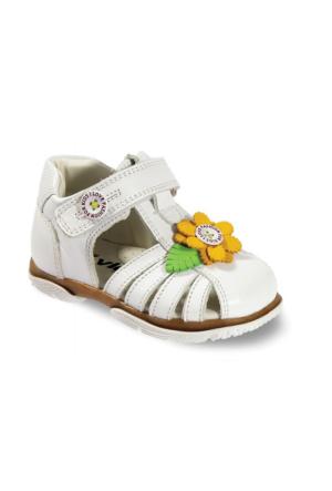 Vicco Cırtlı İlk Adım Deri Sandalet Beyaz