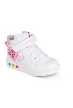 Vicco Cırtlı Işıklı Kız Spor Ayakkabı Beyaz