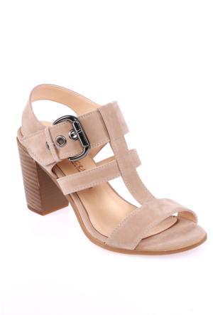 Sms Bej Nubuk Kadın Ayakkabı-3426