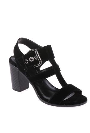 Sms Siyah Nubuk Kadın Ayakkabı-3426